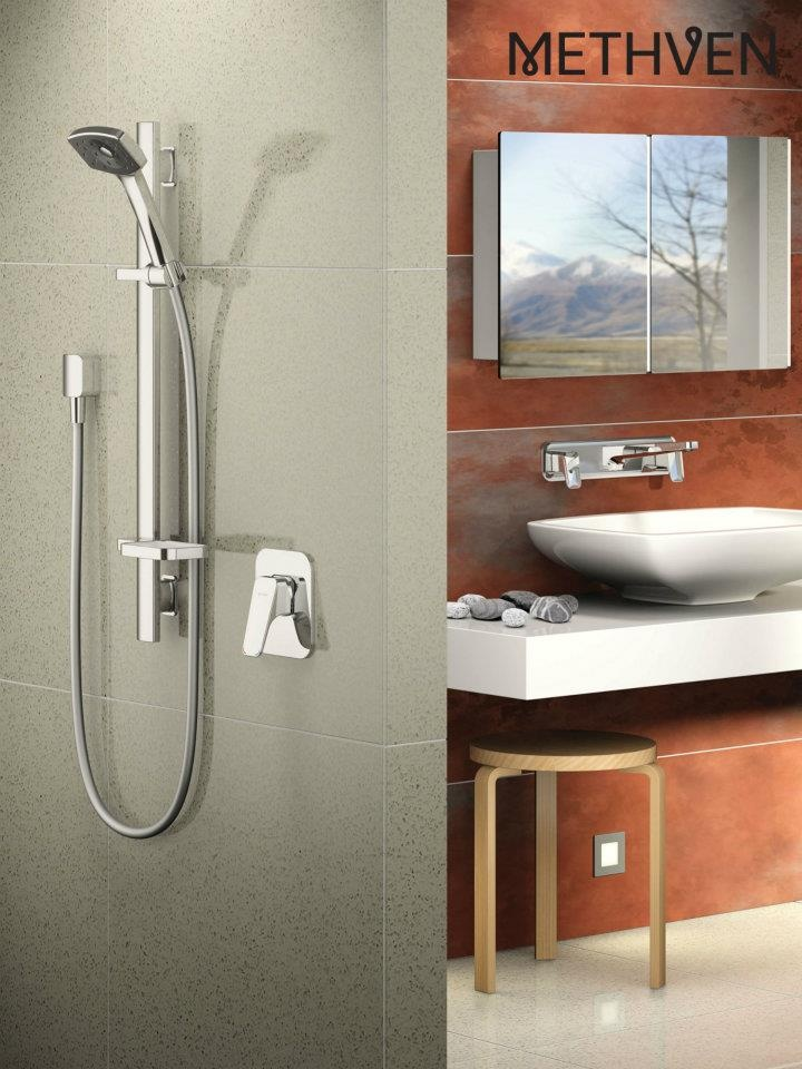 Methvens Waipori Rail Shower and Wall Plate Mounted Mixer tapware