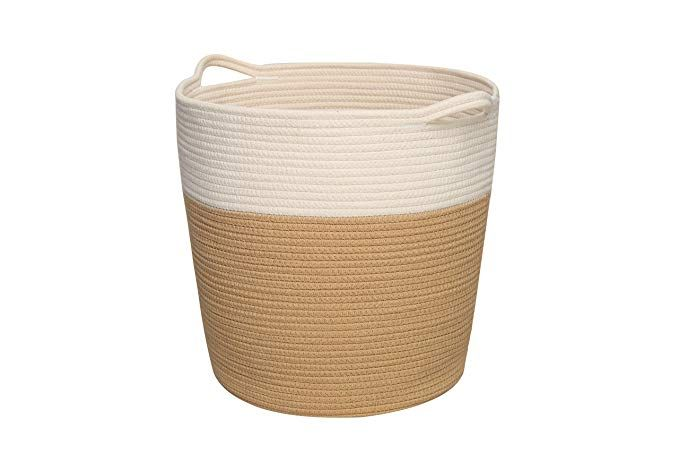 Amazon Com Cotton Rope Basket With Handles Laundry Basket