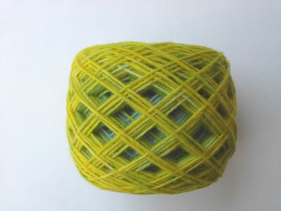 hand dyed yarn yellow and blue fingering yarn wool by KoloroStudio