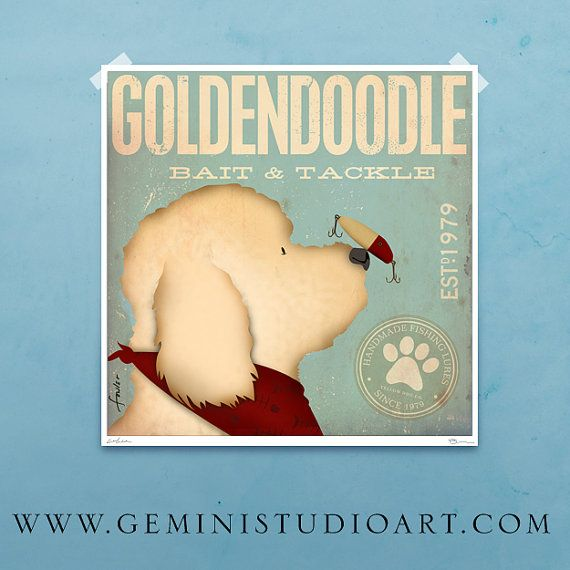 Goldendoodle bait and tackle lure company graphic by geministudio, $39.00