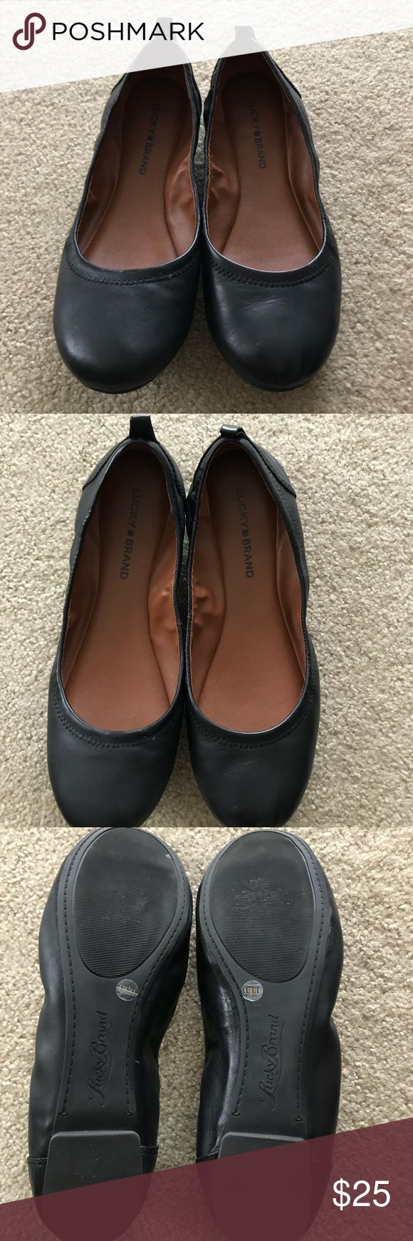 Lucky Brand flats Lucky Brand soft leather flats. These have a little wear on right shoe as pictured but otherwise is good shape. Soft sole and comfortable. Lucky Brand Shoes Flats & Loafers