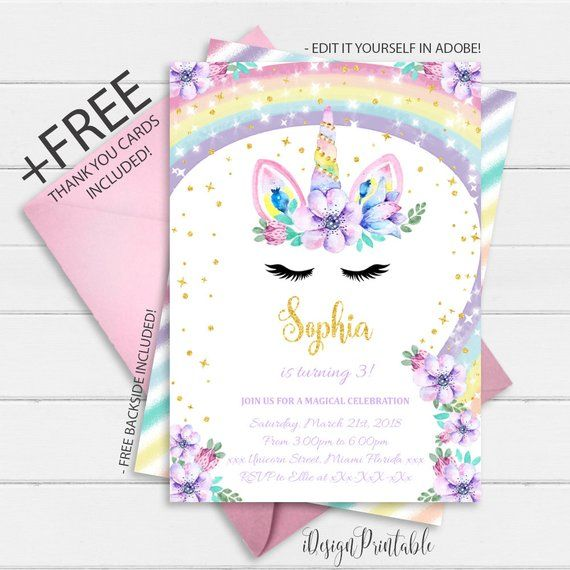 Rainbow Unicorn Birthday Invitation Instant Download Floral