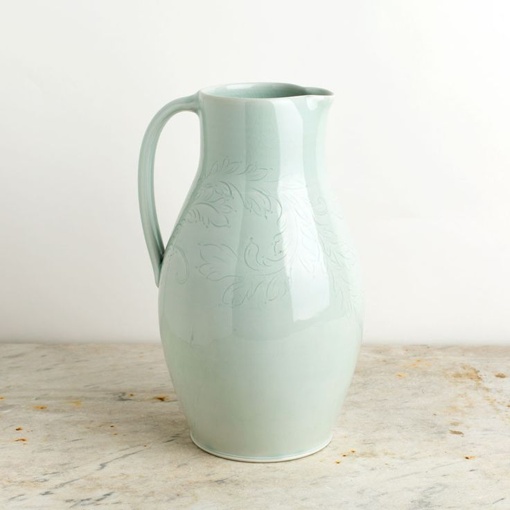 porcelain pitcher with etching