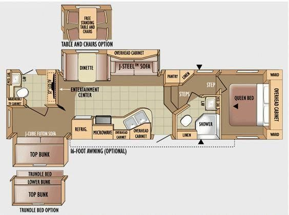 Fifth wheel bunkhouse 2 bathrooms images Bunkhouse floor plans