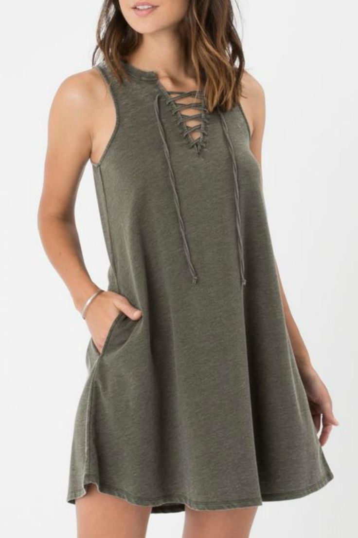 The look-good-feel-good All Tied Up Dress is made to flatter from every angle and oh boy does it deliver! Crafted from Z Supply's signature burnout Baby French Terry this sleeveless dress features a lace-up neckline side pockets and an easy swing silhouette. Rosin Tied-Up Dress by z supply. Clothing - Dresses Providence Rhode Island