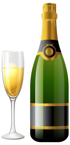Botella de Champagne con el vidrio PNG Clipart