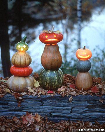 i like these little guysHalloween Decor, Stacked Jack, Fall Decor, Fall Halloween, Pumpkin Decor, Martha Stewart, Jack O' Lanterns, Pumpkin Stacked, Stacked Pumpkin