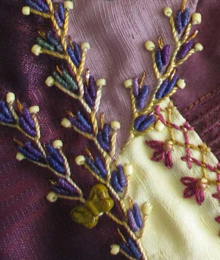 Tutorial on how to work decorative crazy quilt seams.