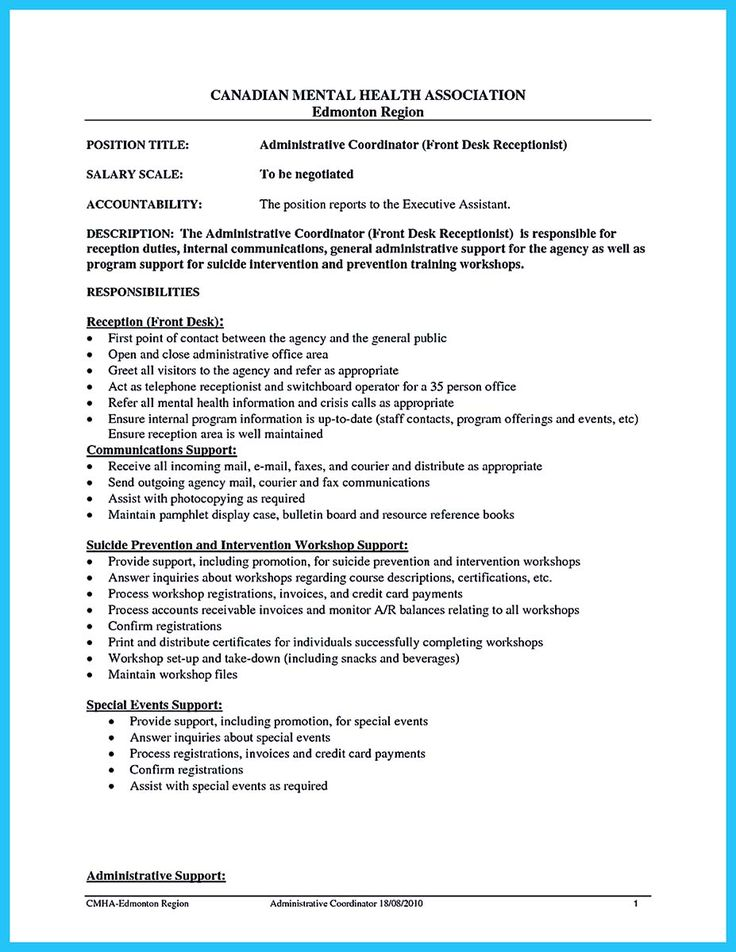 health unit coordinator description resume