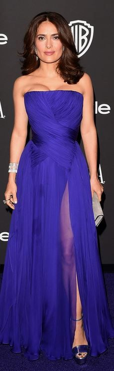 Who made  Salma Hayek's purple strapless gown and silver platform sandals?