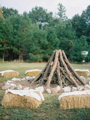 fall farm hay bale wedding benches
