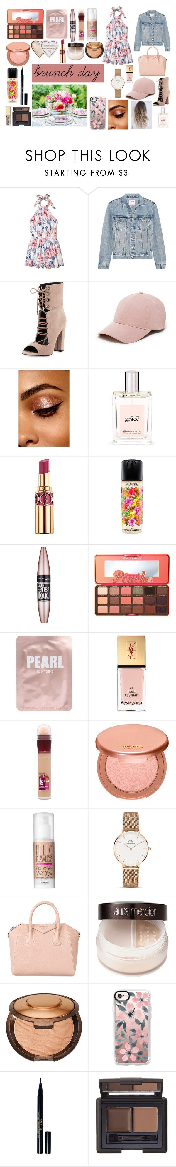 """brunch day"" by valen200329 on Polyvore featuring moda, Hollister Co., Frame, Kendall + Kylie, Sole Society, philosophy, Yves Saint Laurent, MAC Cosmetics, Maybelline y Too Faced Cosmetics"