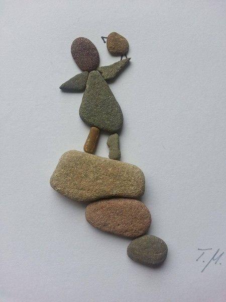 Bild aus Kieselsteinen *Mädchen* von TAMIKRA auf DaWanda.com