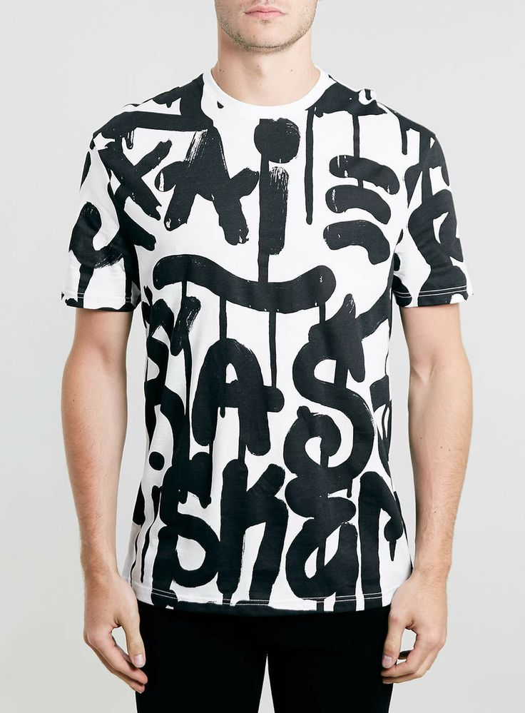 WHITE GRAFITTI PRINT T-SHIRT - Men's Tees & Vests - Clothing - TOPMAN EUROPE