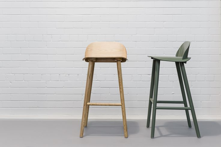 Carla Stools in natural timber and green by Design Kiosk