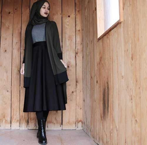midi-skirt-with-hijab-chic-style- Cozy winter coats with hijab http://www.justtrendygirls.com/cozy-winter-coats-with-hijab/