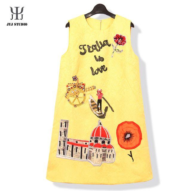 Flower Embroidery Dress Patchwork Yellow Sequin Dress Women Bead Elegant Sexy Dress Is Love Castle Boat Cute Dress