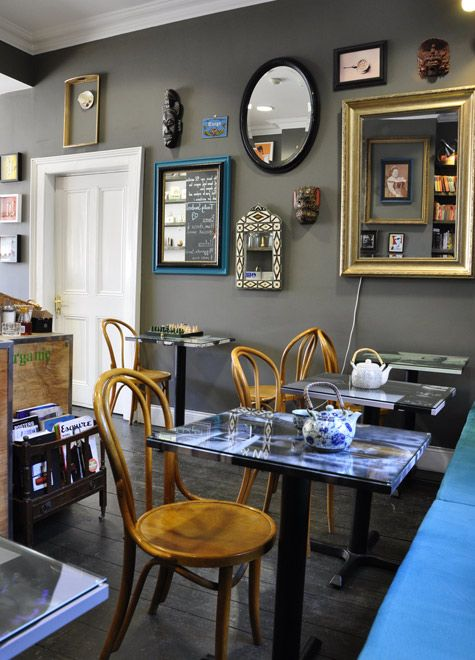 amazing tea shop!: Teas Rooms, Wall Colour, Wall Color, Grey Wall, Wall Display, Frames Art, Gray Wall, Dining Rooms Color, Grey Paintings