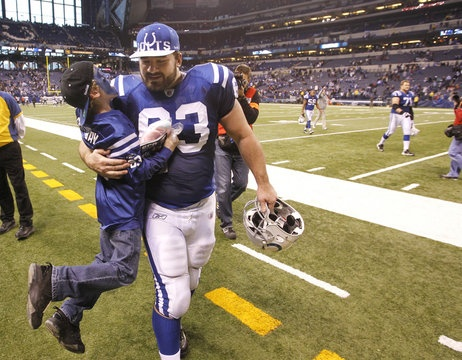 Jeff Saturday and his son Jeffrey, at Lucas Oil Stadium after a win.