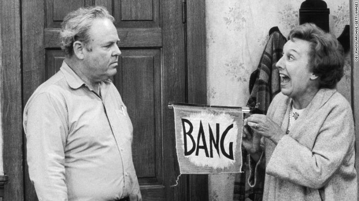 American actors Jean Stapleton and Carroll O'Connor (1924 - 2001), as married couple Edith and Archie Bunker, in a scene from an unidentified episode of the television series 'All in the Family,' Los Angeles, California, 1979. (Photo by CBS Photo Archive/Getty Images)