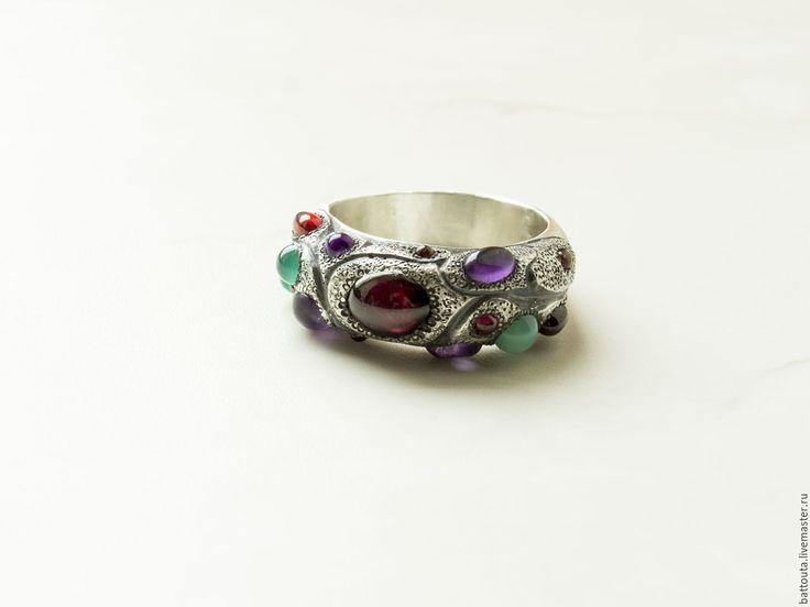Купить Кольцо с цветными камнями Тутти-фрутти - самоцветы, цветной, цветные камни, пестрый