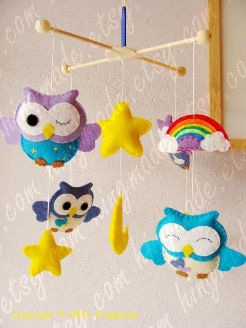 Baby Mobile - Owl Mobile - Nursery Mobile - Decorative Nursery Mobile - Lavender Purple Blue Owls and Rainbow theme(Custom color available). $93.00, via Etsy.