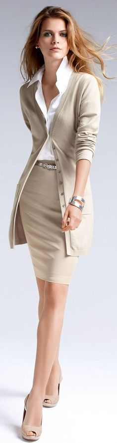 gorgeous classic neutral long cardigan and pencil skirt with white blouse.  perfect style for work. nude sling backs and a skinny leather belt 3a786b3f9f