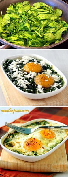 Baked Spinach & Eggs | you could throw any other veggies you'd like in there, too. Perhaps some red peppers or onions? Top it with a bit of cheese, and bake! #lowcarb