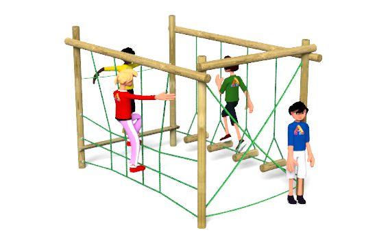 Carleton 7 Climbing Frame Playground Equipment features a rope traverse, beam rope walk, trapeze rings & climbing net http://www.actionplayandleisure.co.uk/carleton-7/
