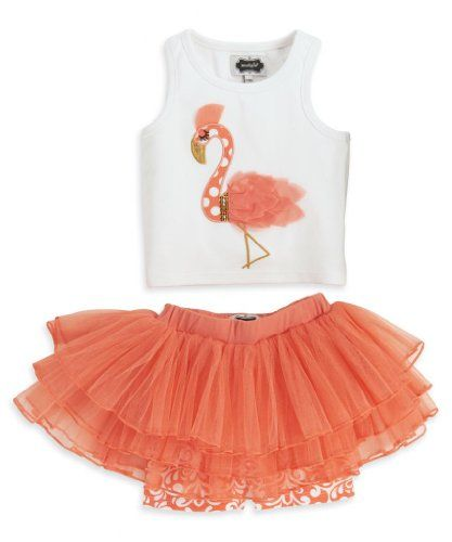 Mud Pie Little Girls' Flamingo Skirt Set, Pink, 2T - Click image twice for more info - See a larger selection of little girl skirt sets at http://girlsdressgallery.com/product-category/skirt-sets/ - girls,toddler,little girls clothing, little girls fashion, little girls dress, little girls fashion, baby, gift ideas