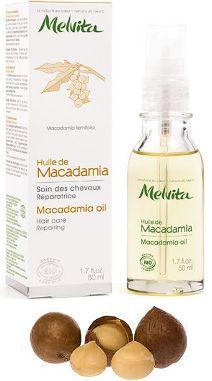 Huile végétale de macadamia Bio et vierge, marque Melvita (par exemple)