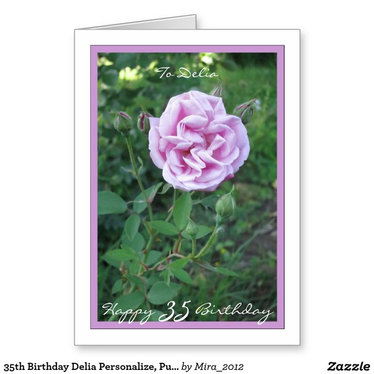 35th Birthday Delia Personalize, Purple Pink Rose Greeting Card