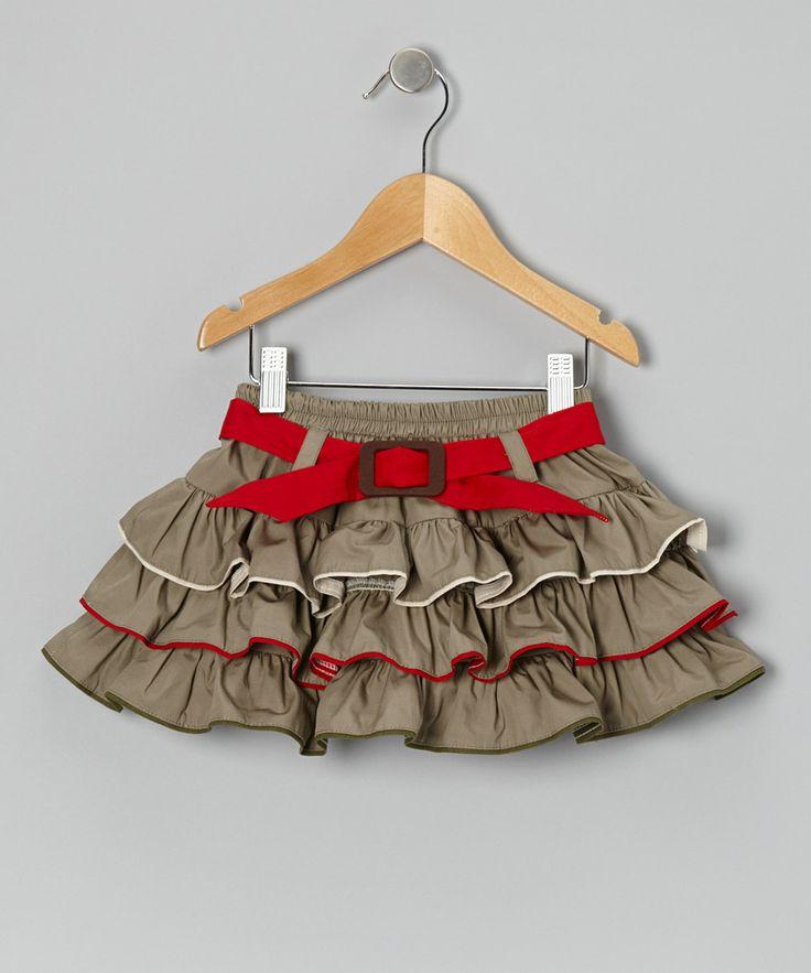 Loving this Khaki & Red Ruffle Belted Skirt - Infant, Toddler & Girls…