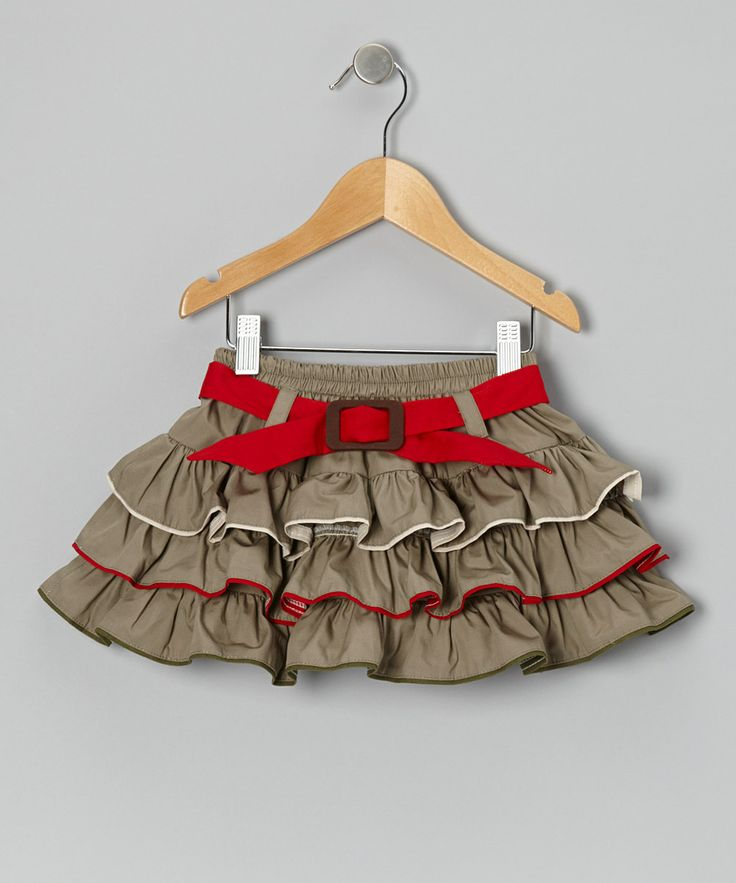 Loving this Khaki & Red Ruffle Belted Skirt - Infant, Toddler & Girls on…