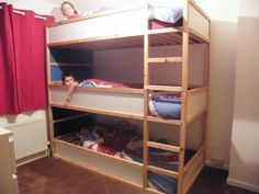 Space saving kids triple bunk beds - IKEA Hackers - IKEA Hackers I have my doubts about using an ikea bed and how tall it is but might be a good idea.