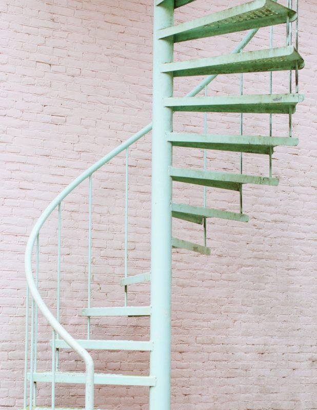 mint color spiral staircase