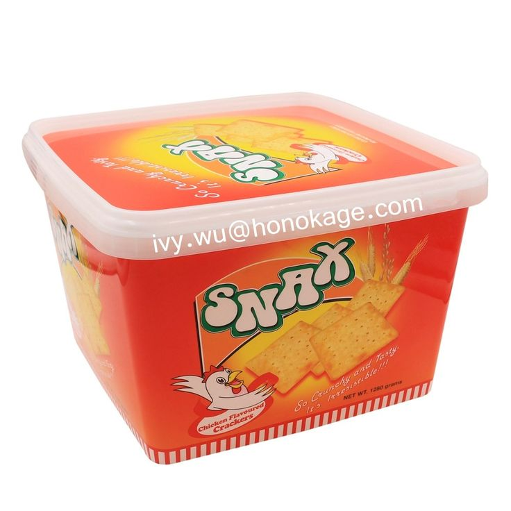2.5L Rectangular IML Plastic Cookie Box with Printing,Cheap Biscuit Container Packaging Suppliers, Food Grade Big Containers with Lids