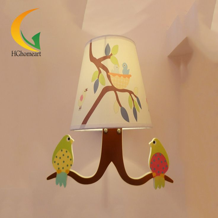 Children's garden wall lamp wall lamp fresh bird boys girls study bedroom bedside lamp study lamp wall #Affiliate