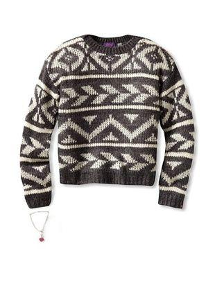 66% OFF Dex Girl's Aztec Sweater (Dark Grey Mix/Cream Aztec)