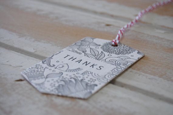 Thanks Letterpress White Swing Tags  set of 5 by LittlePeachCo, $10.00