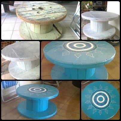 Mesa de centro com carretel de madeira!!