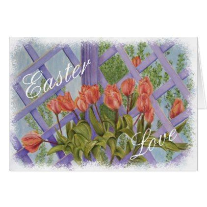 ORANGE TULIPS EASTER MESSAGE CARD - floral style flower flowers stylish diy personalize