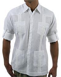 "Debra Torres ""David"" Guayabera Shirt: A versatile men's linen shirt meant to be worn untucked."