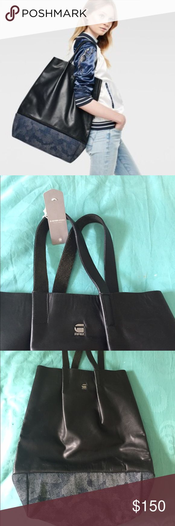 G Star Raw Shopper Derlil Black Leather Shopper. Brand new with tags. No trades. G-Star Bags Totes