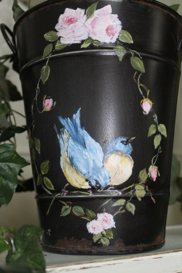 hand painted tin pail