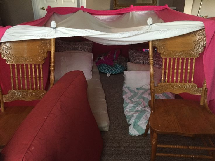A fort made out of blankets and sheets Sleepover fort