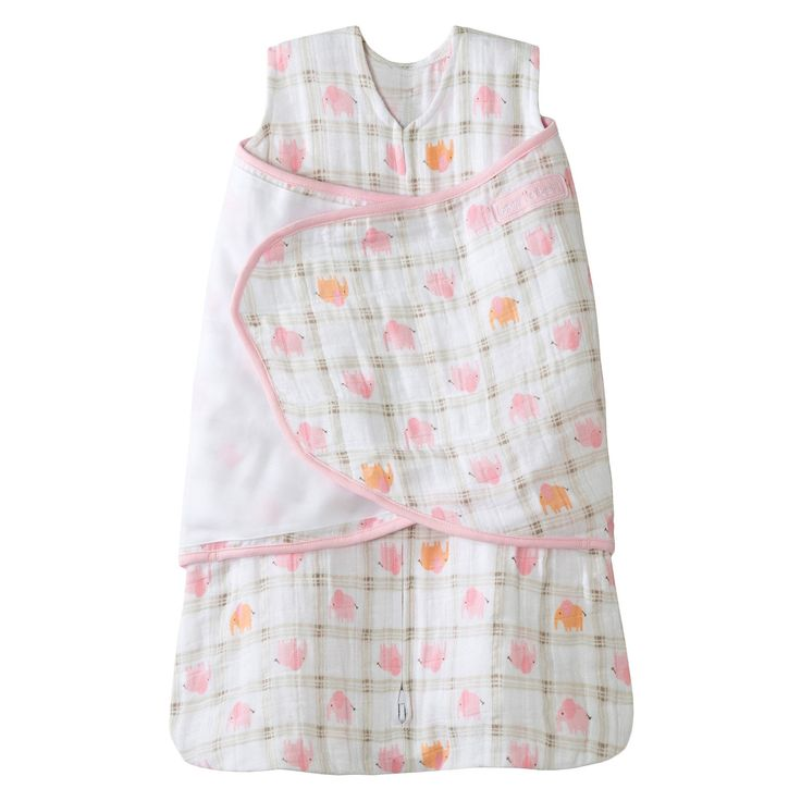 Halo Sleepsack 100% Cotton Muslin Swaddle - Pink Elephant Plaid - NB
