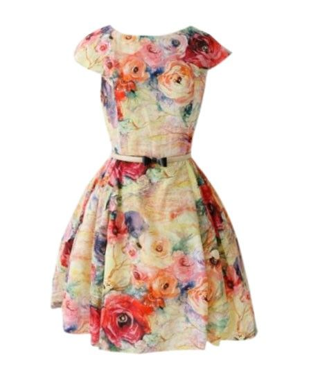Retro Floral Print Dress with Fitted High Waist - Dresses - Clothing #Chicnova