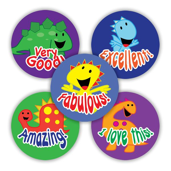 Fun dinosaur stickers measuring 28mm to reward your pupils. 125 stickers per pack.