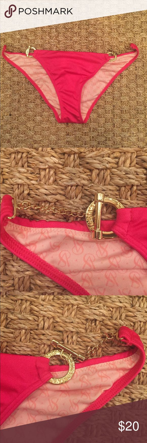 Victoria's Secret hot pink bikini bottoms Victoria's Secret hot pink gold toggle chain bikini bottoms size small worn once great condition no stains fuzzing snags etc! Bottoms run small in my opinion would fit a size xs Victoria's Secret Swim Bikinis